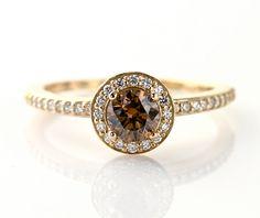 14K Chocolate Diamond Engagement Ring Diamond Halo Brown Diamond Ring 18K Custom Bridal Jewelry. $2,334.00, via Etsy.