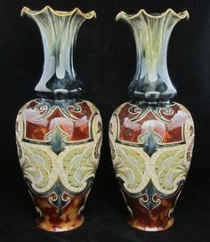 Pair of Large and Unusual Doulton Lambeth Vases decorated with Sea Horses by Eliza Simmance