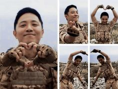 BTS acting cute and in that uniform..I lurve it! #descendants of the sun #jin goo