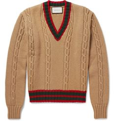 Gucci Slim-Fit Striped Cable-Knit Wool Sweater | MR PORTER
