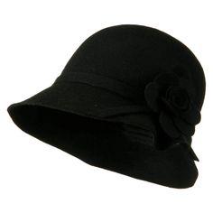 Wool Felt Crushable Hat with Flower - Black