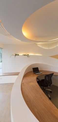 Beautiful, organic reception desk.