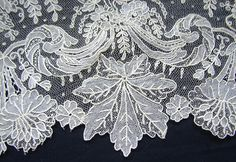 Maria Niforos - Fine Antique Lace, Linens & Textiles : Antique Lace # LA-245 Elaborate Brussels Point De Gaze Flounce