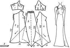 Мода 1930-1939 гг Вечернее платье с треном, кроенное по косой нити из голубого матового крепа, отделанное по бретели серебрянными бусами. Понадобится 3,7 метров ткани шириной 0,95 м. Крой дан целиком. Стрелки показывают направление ниток в ткани. 1 - подкладка переда; 2 - подкладка спинки; 3 - перед платья; 4 - спинка платья; 5 - бретель; 6 - трен, укрепленный на плече.