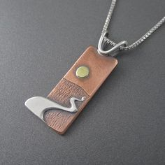 Metal Jewelry Chocolay Bayou Sunset Mixed Metal Pendant by Beth Millner Jewelry. Handmade nature inspired jewelry for outdoor enthusiasts. Mixed Metal Jewelry, Metal Clay Jewelry, Wooden Jewelry, Copper Jewelry, Polymer Clay Jewelry, Pendant Jewelry, Handmade Jewelry, Pendant Necklace, Jewelry Necklaces
