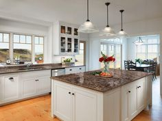 Quartz countertops are one of the most beautiful upgrades you can add to your kitchen.The range in color from earthy tones and creams to more bold choices. Farmhouse Kitchen Decor, Galley Kitchen Remodel, Cambria Countertops, Kitchen Remodel, Kitchen Decor, Kitchen Countertops, New Kitchen, Home Kitchens, Kitchen Renovation