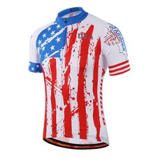 USA Style Mens Racing Cycling Jersey Tops Ropa Ciclismo Short Sleeve mtb Bicycle Cycling Clothing  Breathable Bike Jersey Shirts