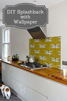 Splashback Using Wallpaper Create a unique and stylish designer DIY splashback with wallpaper. Step by step guide.Create a unique and stylish designer DIY splashback with wallpaper. Step by step guide. Home Diy, Kitchen Design, Diy Wallpaper, Kitchen Wallpaper, Kitchen Inspirations, Backsplash, Kitchen Splashback, Diy Kitchen, Contemporary Home Decor