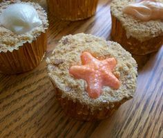 "The Seven ""On the Beach"" Cupcakes Ideas - crushed malteser (no choc) for the sand."