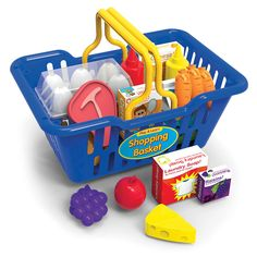 Kids can enjoy the complete shopping experience with the Play & Learn Shopping Basket! Our kid-sized Shopping Basket is easy to carry with its lightweight plastic construction and big handles. Fun Accessories include a variety of plastic and cardboard food<br>items. Ages 3+ years.