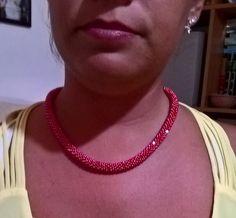 Collana rosso corallo_tecnica bead crochet
