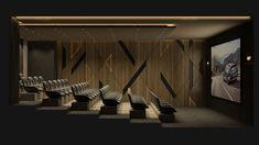 Cinema - El Hamra Tower - Kuwait city on Behance Home Theater Room Design, Home Cinema Room, Home Theater Rooms, Theatre Design, Home Theater Seating, Office Interior Design, Lightroom, Adobe Photoshop, Screen Design