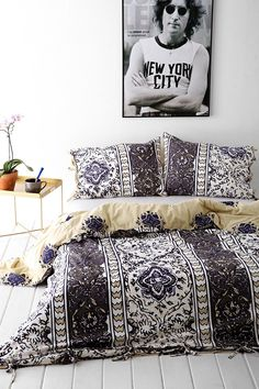 Douvet cover ideas and minimal bedside pieces...Magical Thinking Boho-Stripe Duvet Cover- urban outfitters