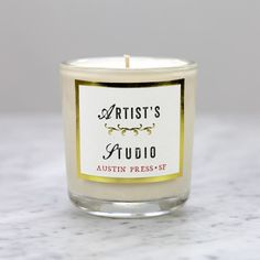 Austin Press | Ephemera, Apothecary, Candles with Old World Charm | San Francisco Biscuit Home, Candle Jars, Apothecary Candles, Glass Vessel, Old World Charm, Natural Essential Oils, Recycled Glass, Candle Making, Letterpress