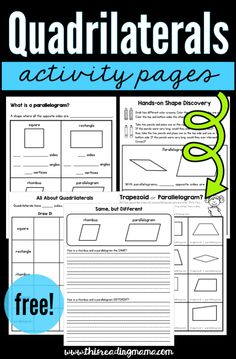 Quadrilaterals Activity Pages free - This Reading Mama Fourth Grade Math, Second Grade Math, Grade 2, 3rd Grade Activities, 4th Grade Math Worksheets, Literacy Activities, Math Games, Geometry Worksheets, Geometry Activities