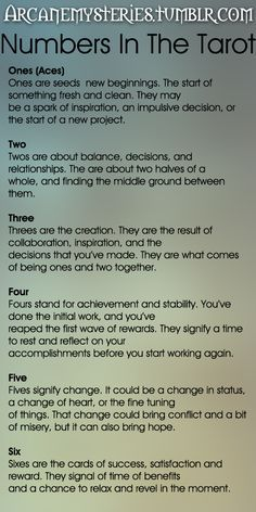 Arcane Mysteries (Numbers In The Tarot.) Tarot Tips http://arcanemysteries.tumblr.com/
