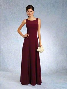 Alfred Angelo Style 7340L: Floor length bridesmaid dress with sheer sleeveless bateau yoke and A-line skirt
