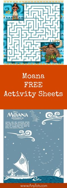 Moana Free Printable Activity Sheets. Perfect Kid Activity at Home or Add it to your Moana Party. Includes Moana Maze Sheet And Moana Connect the Dots and other Moana Coloring Sheets and Moana Activity Sheets you can print for FREE.