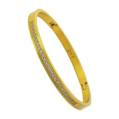 BG333G B.Tiff Half Eternity Matte Finished Gold Bangle Bracelet