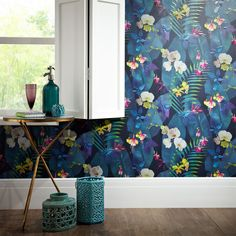 This beautiful Pindorama wallpaper features a colourful tropical flowers and foliage design in vibrant tones on a dark navy background, with textured raised high gloss highlights for added effect. Tree Leaf Wallpaper, Navy Wallpaper, Tropical Wallpaper, Botanical Wallpaper, Paper Wallpaper, Blue Wallpapers, Textured Wallpaper, Flower Wallpaper, Wallpaper Roll