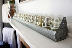 Vintage inspired chicken coop feeder with antique glass insulators @natalme.com