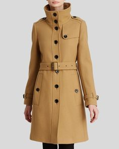 Designer Clothes, Shoes & Bags for Women Burberry Coat, Camel Coat, Military Fashion, Manga, Coats For Women, Wool Blend, My Style, Outfits, Shopping