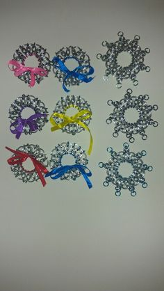 Holiday wreaths and snowflakes