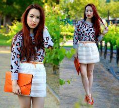 Club Monaco Animal Print Sweater, Foreign Exchange Sheer Panel Skirt, Opera  Orange Clutch, Bebe Orange Heels