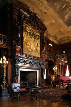 ... Fireplace, Biltmore Estate ... I am so in love with this. Could you imagine a giant Christmas tree with antique decorations and presents next to it?
