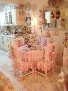 Pretty little pink shabby chic kitchen