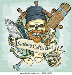"""""""diseño del logotipo de cráneo de pescador- Colección de navegación, ilustración vectorial con texto de ejemplo"""""""