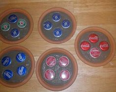 "Coasters for the ""man cave"".. tara cotta pot bottoms bottle caps stepping stone cement."