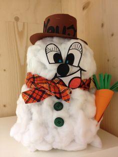 Sinterklaas surprises... Niet altijd iets waar we zin in hebben. Deze sneeuwpop is heel simpel te maken! Twee proppen papier beplakken met watten, op elkaar wast maken, hoedje op, dasje om en wortel in zijn hand. Cadeautje onder de hoed en klaar is kees! Voor meisjes erg leuk! Jongens vinden dit iets minder, daar maak ik maar een toffe peer voor!