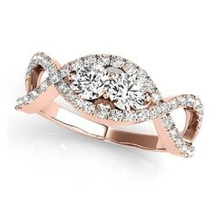 Allurez Diamond Twisted Infinity Two Stone Ring 14k Rose Gold (1.00ct) (4,590 BAM) ❤ liked on Polyvore featuring jewelry, rings, rose gold diamond ring, twist rings, diamond jewelry, fine jewelry diamond rings and diamond rings