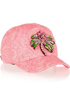 SHOUROUK Swarovski Crystal Embellished Jacquard Cap Pink $795  (Compare Elsewhere $865) SHIPS FREE BEST PRICES YOU WILL FIND ANYWHERE ON GENUINE LADIES DESIGNER BRANDS! FREE WORLD SHIPPING & LOCAL DELIVERY AVAILABLE AT THE SURF CITY SHOP in Huntington Beach, California Major Credit Cards Accepted