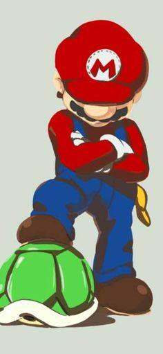 Super Mario and His Super Shiny Turtle Shell Artwork by LD Walker Super Mario Bros, Super Mario Brothers, Super Smash Bros, Super Mario World, Mario Nintendo, Mario Bros., Mario Fan Art, Mario Party, Super Nintendo