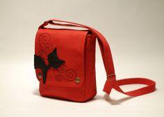 Small messenger bag, red - small cross body bag - linen bag - black cat applique - leather.