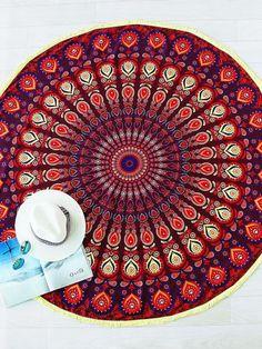 Red Tribal Print Vintage Round Beach Blanket