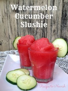 Watermelon Cucumber Slushie ... Don't miss out on this summertime Watermelon Cucumber Slushie! It's the perfect, refreshing drink to cool down and hydrate with. Click here for the recipe. | Recipes to Nourish