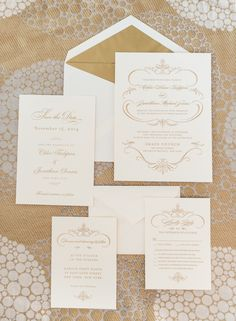 Gold and White Wedding Invitations from Wedding Paper Divas | photography by www.rebeccayalephotography.com