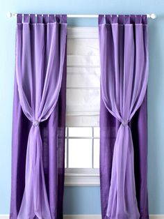 Bargain Window Treatment Ideas: Instantly transform simple store-bought panels into something special with these quick and easy window treatment ideas. Designed by Elaine Koonce. Sheer Elegance: Romanticize any room with this bold drapery that beckons the princess inside us all. A pretty two-tone effect adds visual interest but does not take away from the beautiful delicacy of the detailing in the sheers. How-to another pin.