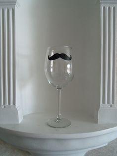 Mustache Wine Glass  Housewares  Glassware by YouniquelyElegant, $12.00