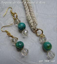 Parure pendentif et boucles d'oreilles perles Turquoise du Tibet et Cristal de Roche