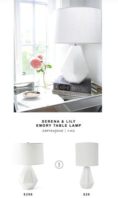 Serena & Lily Emory Table Lamp for $398 vs Silver Sprints White Geo Table Lamp for $28 @copycatchic look for less budget home decor design chic find http://www.copycatchic.com/2016/10/serena-lily-emory-table-lamp.html?utm_campaign=coschedule&utm_source=pinterest&utm_medium=Copy%20Cat%20Chic&utm_content=Serena%20and%20Lily%20Emory%20Table%20Lamp
