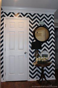how to paint a chevron stripe! must have a wall like design home design designs Chevron Painted Walls, Paint Chevron Stripes, Chevron Accent Walls, Striped Walls, Navy Chevron, Wall Stripes, Home Design, Wall Design, Design Room
