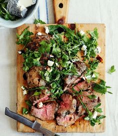 Grilled leg of lamb with British goat's cheese and herb salad