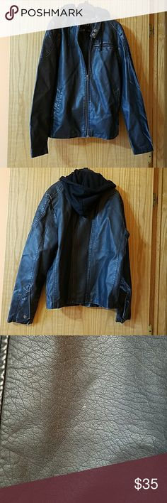 Faux-leather hoodie jacket Juniors pleather jacket. Minor flaws pictured above. Jackets & Coats Lightweight & Shirt Jackets