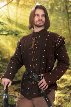 Medieval Shirt Full Sleeves Collar Wood Buttons Re-enactor Ren Fair 4 Sizes