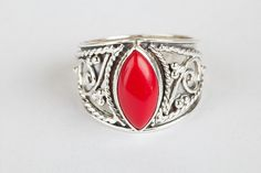 Coral Jewellery – 925 Sterlin Silver Coral Gemstone Handmade Ring  – a unique product by ArtisanJewellery on DaWanda