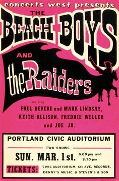 The Beach Boys - The Raiders - Portland Civic Auditorium - 1970 - Concert Poster The Beach Boys, Rock Posters, Band Posters, Theatre Posters, Event Posters, Theater, Vintage Concert Posters, Vintage Posters, Woodstock